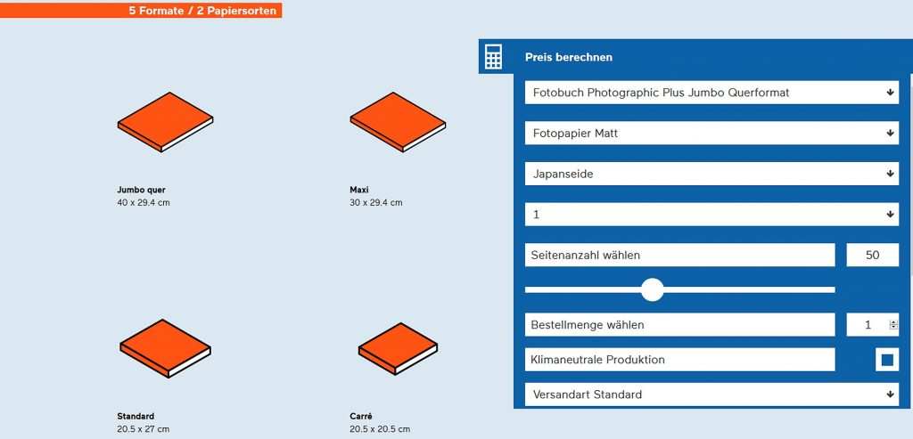 Before you place your order with Bookfactory, Bubu enables you to price up various configurations; Source: bookfactory.ch